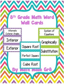 8th Grade Math Word Wall (bright chevron and dots)