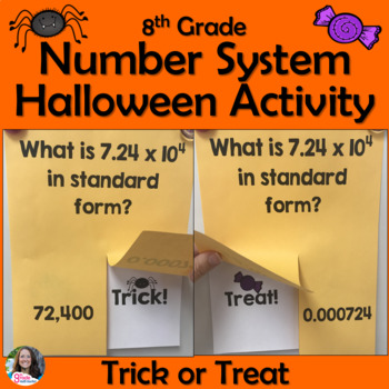 8th Grade Number System Review Trick or Treat Halloween Activity