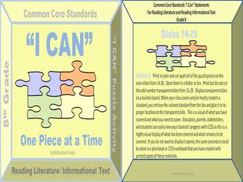 8th Grade Reading Common Core Standards:  I Can Statements