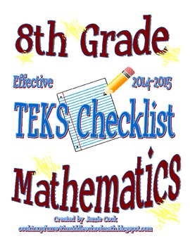8th Grade STAAR Math TEKS Checklist (with new TEKS effecti
