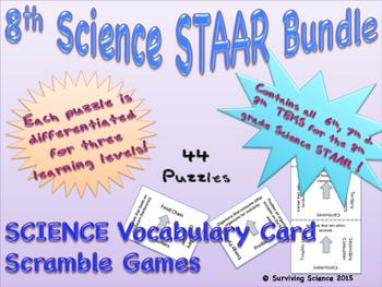 8th Grade Science STAAR Bundle: 46 Vocabulary Scrambles Ca