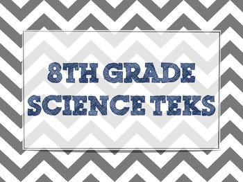 """8th Grade Science TEKS """"I Will"""" Posters"""