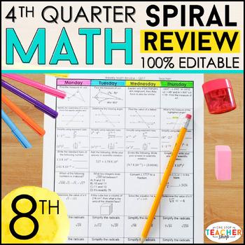 8th Grade Math Homework or 8th Grade Spiral Math Warm Ups