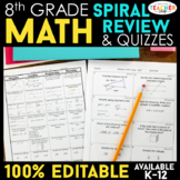 Eighth Grade Math Homework ENTIRE YEAR } EDITABLE