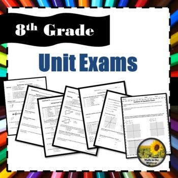 8th Grade Unit Exams Bundle
