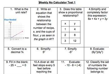8th grade 1st Quarter No Calculator Spiraled Common Core R