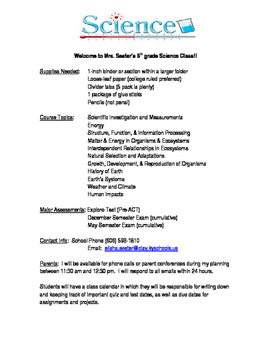 8th grade Class Syllabus Example NGSS