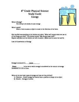 8th grade Energy Study Guide - Answer Key