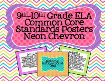 9-10th Grade ELA Common Core Standards Posters- Neon Chevron