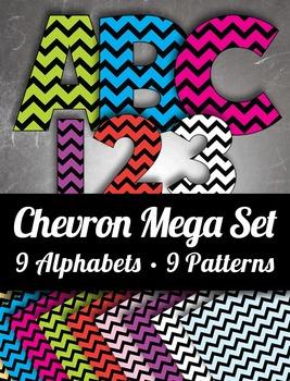 9 Chevron Alphabets - 9 Pattern Sheets -  9 Colors – Mega
