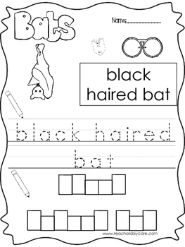9 Color, Read, Trace, and Box Write Bats Worksheets. Preschool-KD