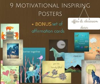9 Motivational Inspiring Posters Decor plus Affirmation Ca