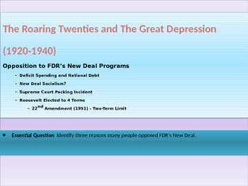 9. Roaring Twenties and Great Depression - Lesson 6 of 6 R