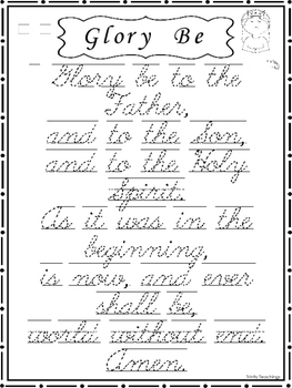 9 Trace the Prayers, Glory Be, Hail Mary, Lord's Prayer. C