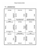 9 square activity- Basketball Terms Set
