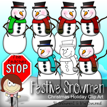 Snowman Clip art - 90 Colored and Outlined {The Teacher Stop}