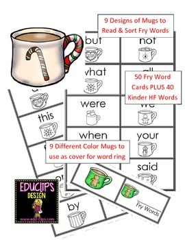 90 Kinder High Frequency Words for Word Rings - Flashcards
