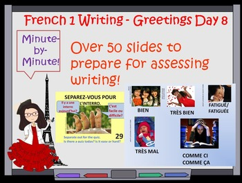 French 1 writing assessment greetings First Week Day 8