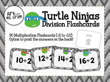 90 Turtle Ninja Division Flashcards (÷2 to ÷10)