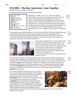 9/11 Article for Close Reading