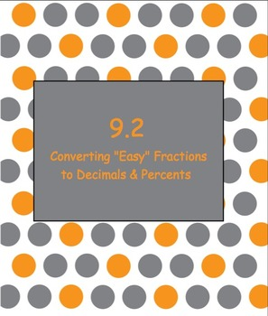 "9.2 Converting ""Easy"" Fractions to Decimals and Percents-"