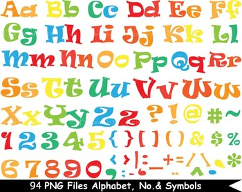 94 PNG Files Colorful Alphabet, Numbers & Symbols - Clip A