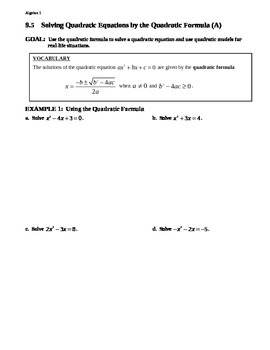 9.5 Solving Quadratic Equations by the Quadratic Formula (Day 1)