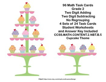 96 Math Task Cards- Grade 2-Adding and Subtracting 2 Digit