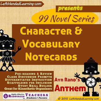 {99 Novel} Ayn Rand Anthem Character & Vocabulary notecard