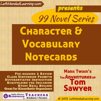 {99 Novel} Character & Vocabulary Cards Mark Twain The Adv
