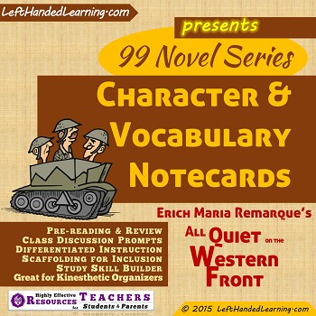 {99 Novel} Character & Vocabulary Note cards for All Quiet