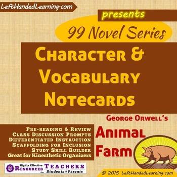 {99 Novel} Character & Vocabulary Notecards for Animal Far