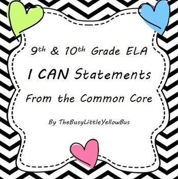 "9th & 10th Grade ELA ""I Can..."" Statement Posters (Chevron"
