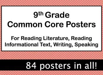 9th Grade ELA Common Core Posters - Coral Black Theme