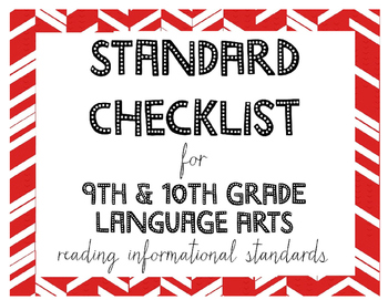9th or 10th Grade Language Arts Standards Checklist for Re