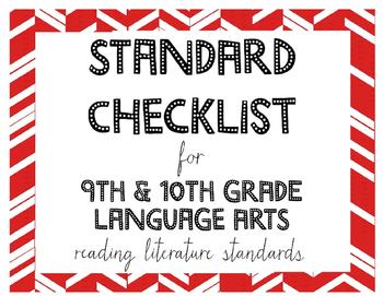 9th or 10th Grade Language Arts Standards Checklist for Re