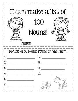 I Can Make A List Of 100 Nouns!