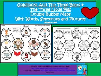 A+ 3 Bears & 3 Little Pigs Double Bubble: Words,Sentences
