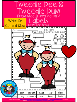 A+ Alice In Wonderland: Tweedle Dee and Tweedle Dum Labels