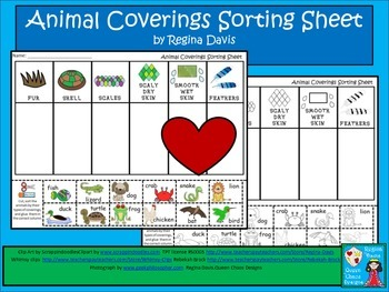 A+ Animal Coverings Sorting Sheet