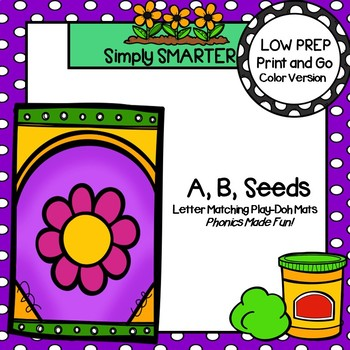 A,B, Seeds:  LOW PREP Flower Themed Letter Matching Play-Doh Mats