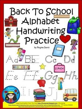 A+ Back To School Alphabet Handwriting Practice