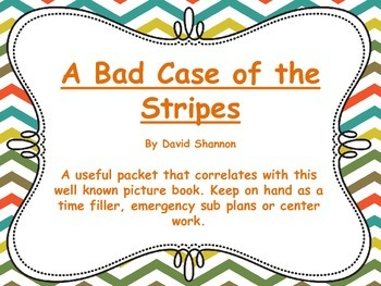 A Bad Case of the Stripes (By David Shannon) Activity Pack