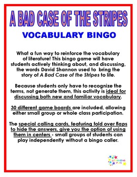 A Bad Case of the Stripes Vocabulary Bingo