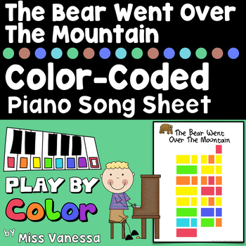 The Bear Went Over The Mountain Color-Coded Piano Song She