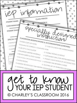A Brief Look Into Your Student's IEP | Middle School/High