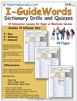 A Brilliant Guide Word Set -  15 Differentiated Lessons  I