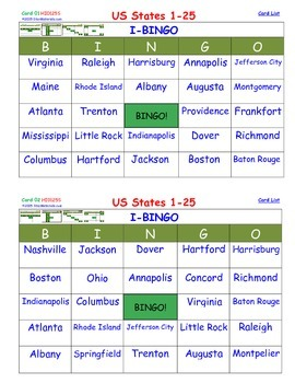 A Brilliant - I-BINGO – All 50 State Capitals - CAPITALS o