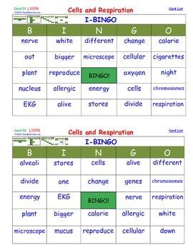 A Brilliant - I-BINGO – Cells and Respiration - LS008 Inte