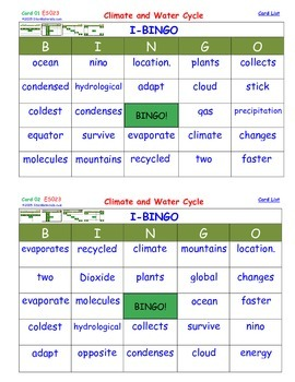 A Brilliant -  I-BINGO – Climate and Water Cycle - Interac